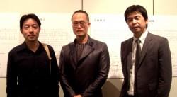 西中先生(中央)と、二村純生先生(左)、梅田洋先生(右)
